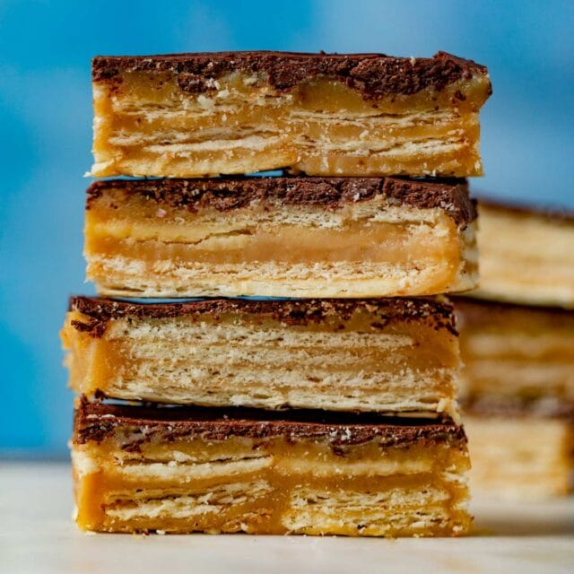 Chocolate Caramel Cracker Bars in stack