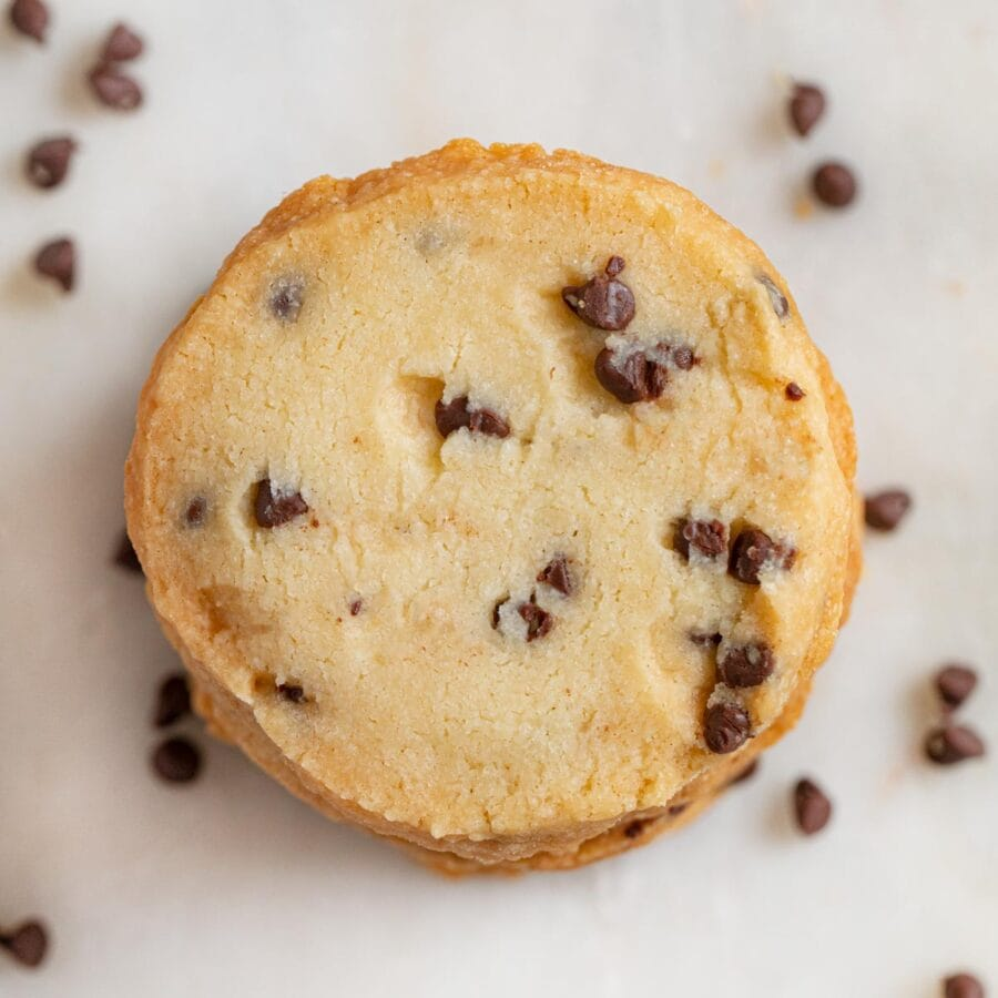 top-down view of Chocolate Chip Shortbread Cookies in stack
