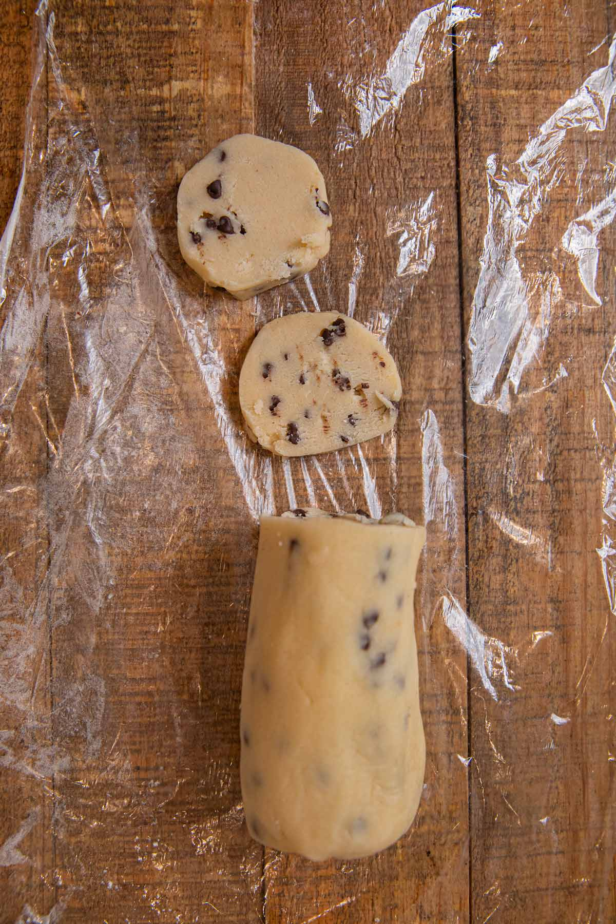 Chocolate Chip Shortbread Cookies rolled log of shortbread dough