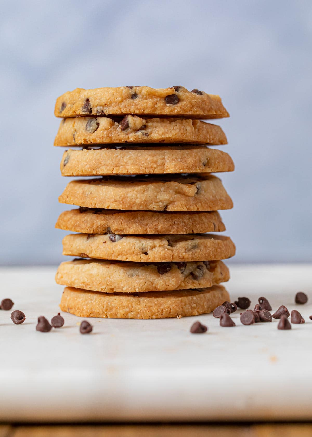 Chocolate Chip Shortbread Cookies in stack