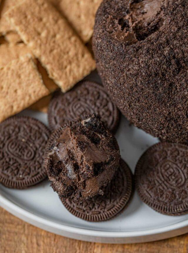 Chocolate Oreo Cheese Ball scoop on Oreo cookie