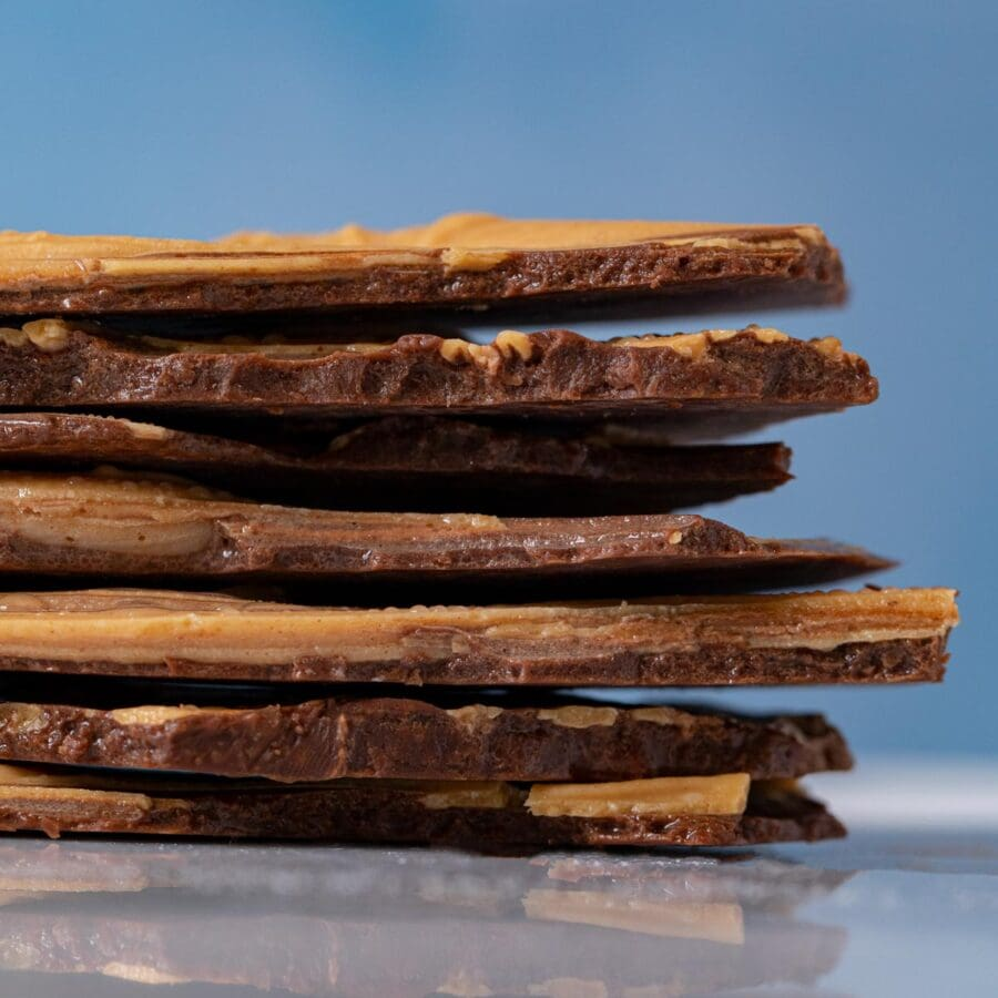 Chocolate Peanut Butter Bark pieces in stack