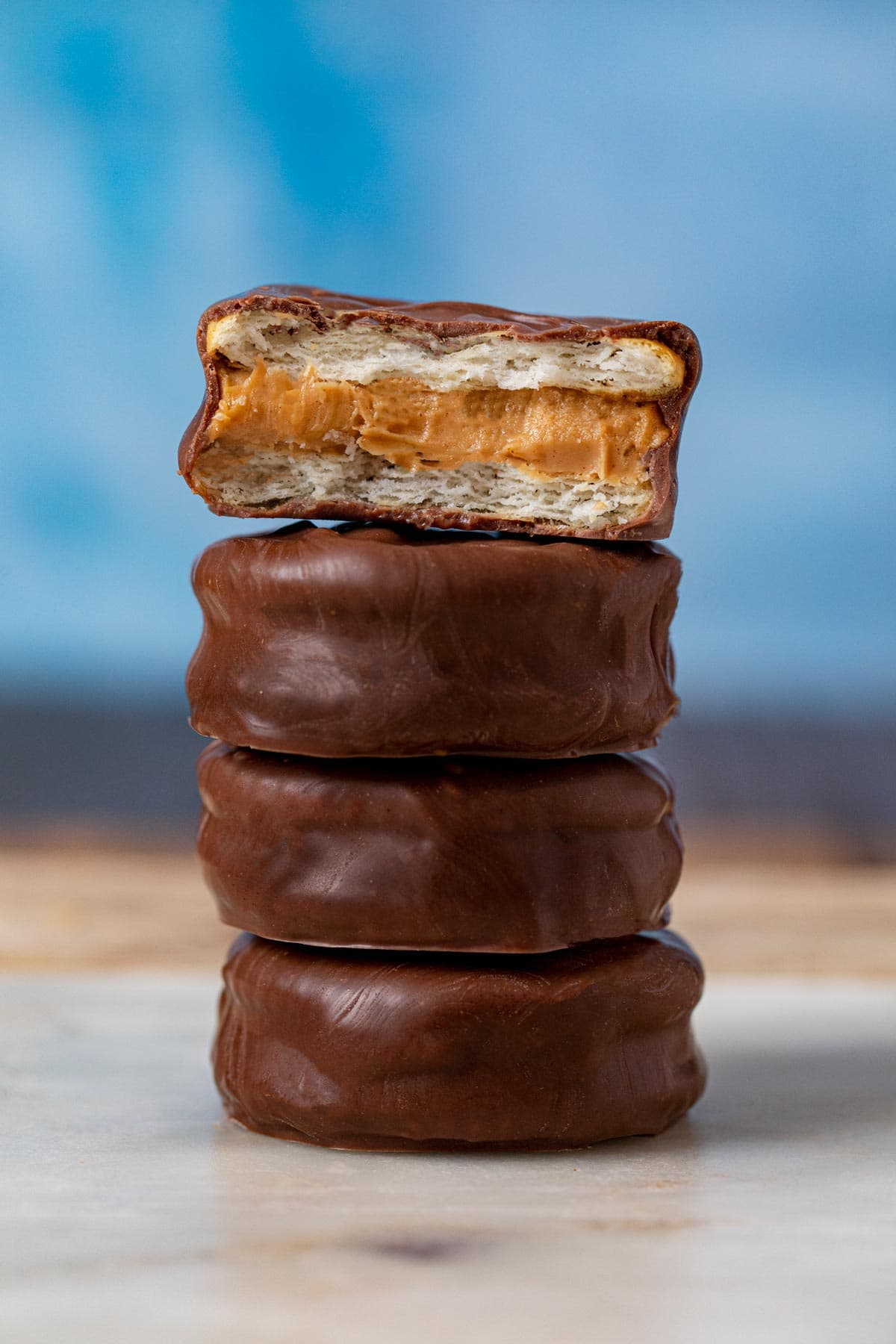 Chocolate Peanut Butter Sandwich Cookies in stack
