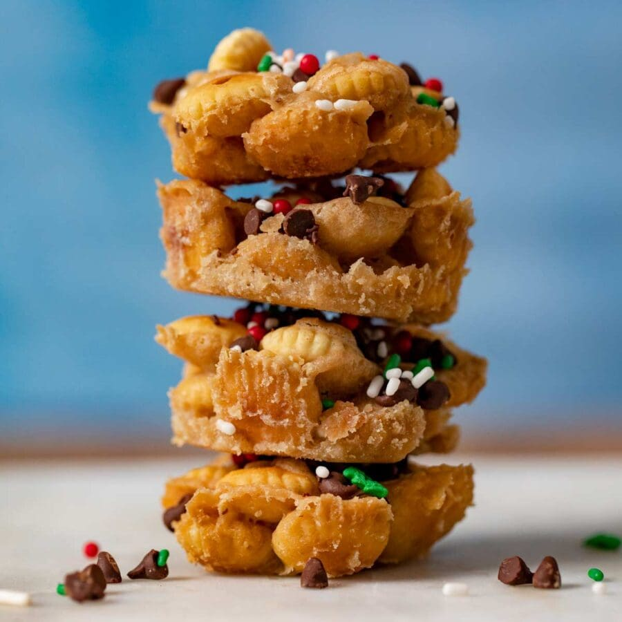 Christmas Saltine Toffee Cookies in stack