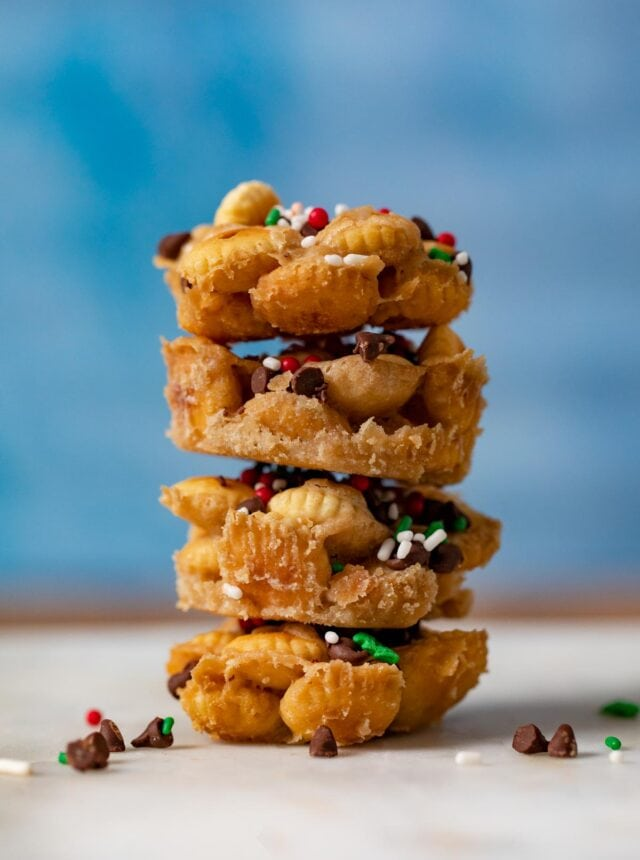 Christmas Saltine Toffee Cookies in stack