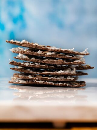 Coconut Almond Chocolate Bark pieces in stack