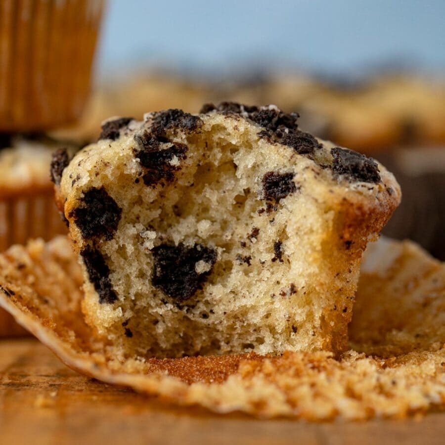 Cookies and Cream Muffins with bite removed