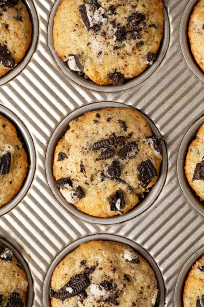 Cookies and Cream Muffins in muffin tin