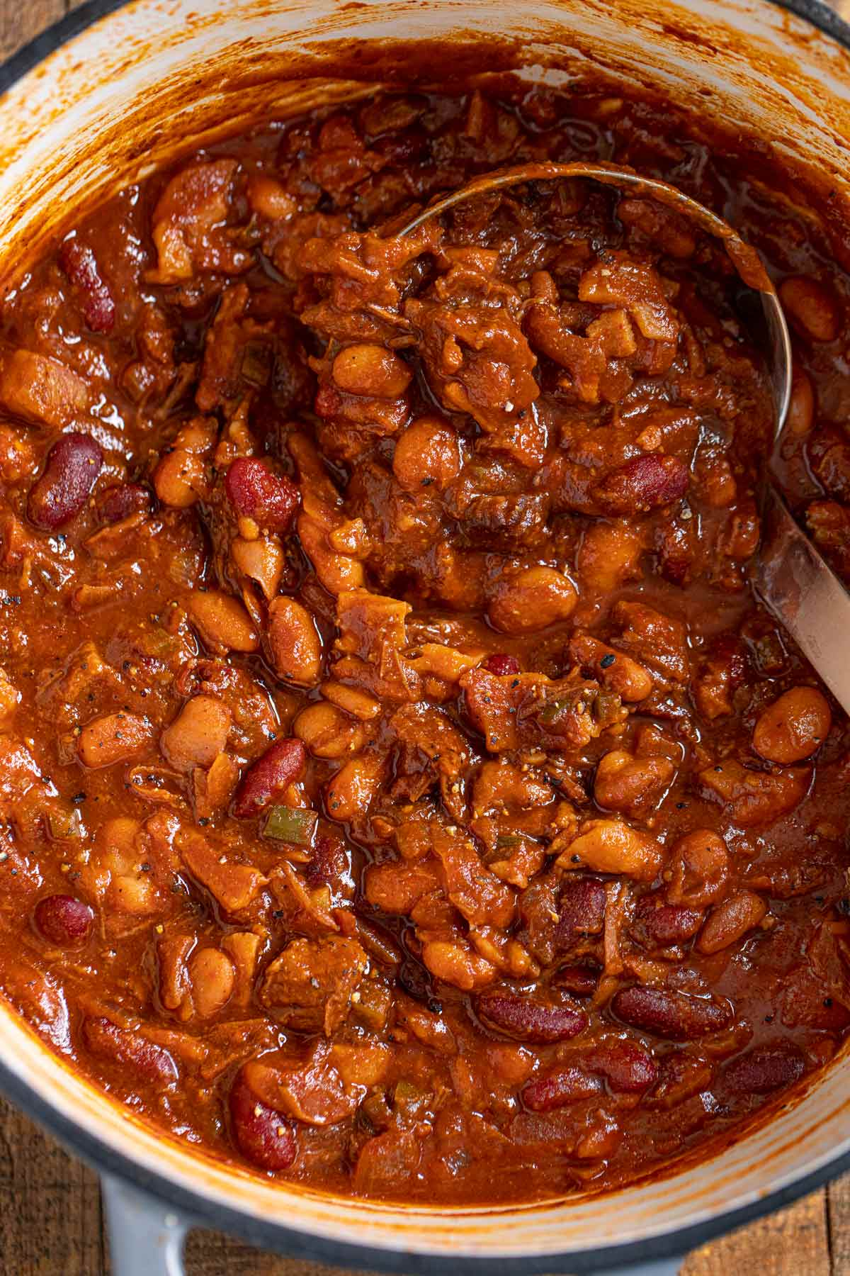 Cowboy Beans in pot with ladle