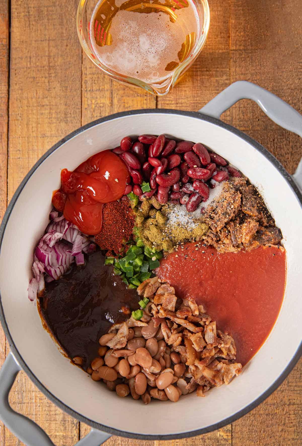 Cowboy Beans ingredients in pot