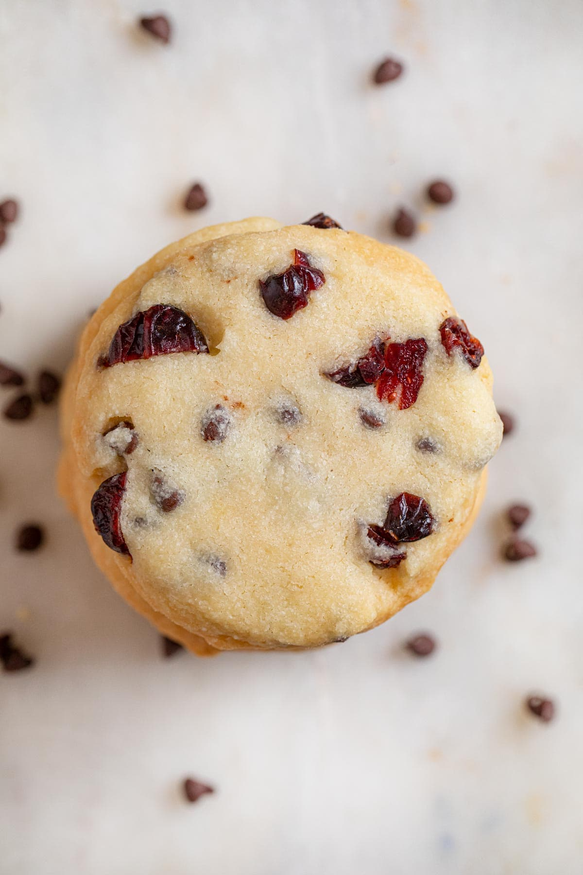 top-down view of Cranberry Chip Shortbread Cookies in stack
