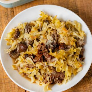 French Onion Beef Noodle Bake serving in bowl