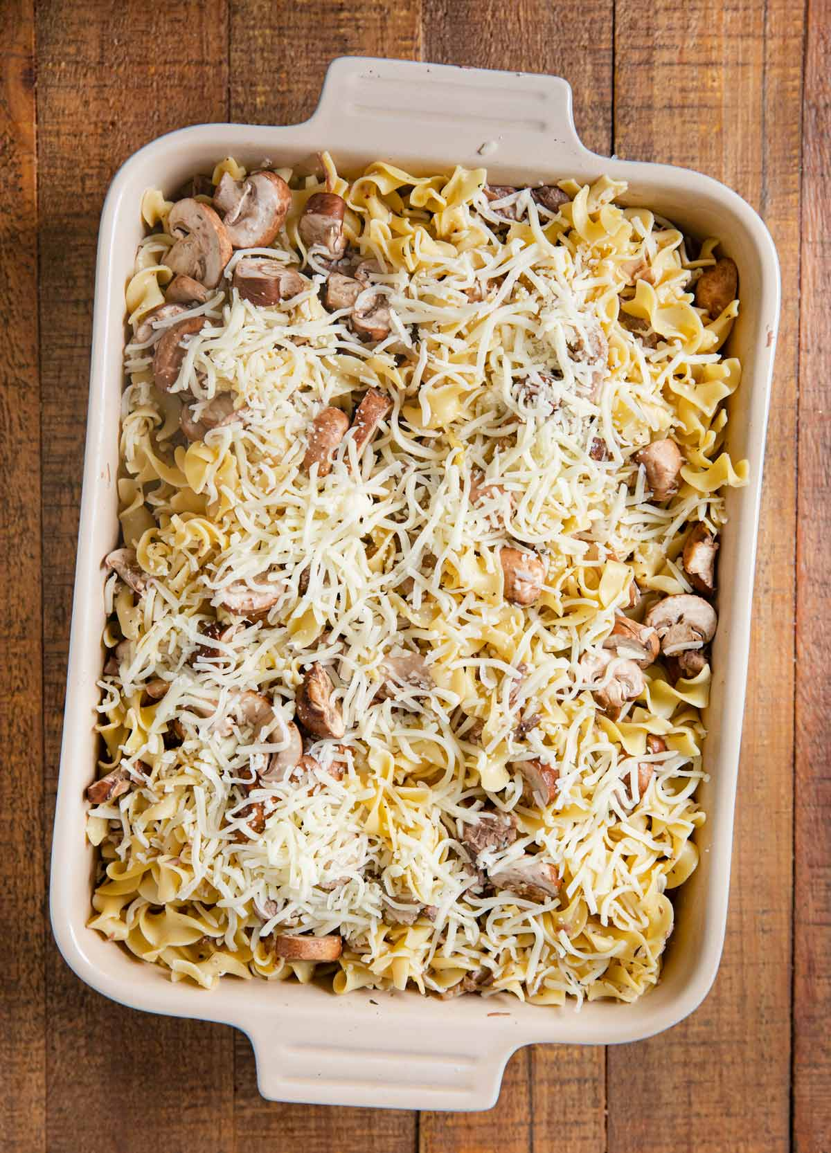French Onion Beef Noodle Bake in baking dish before baking