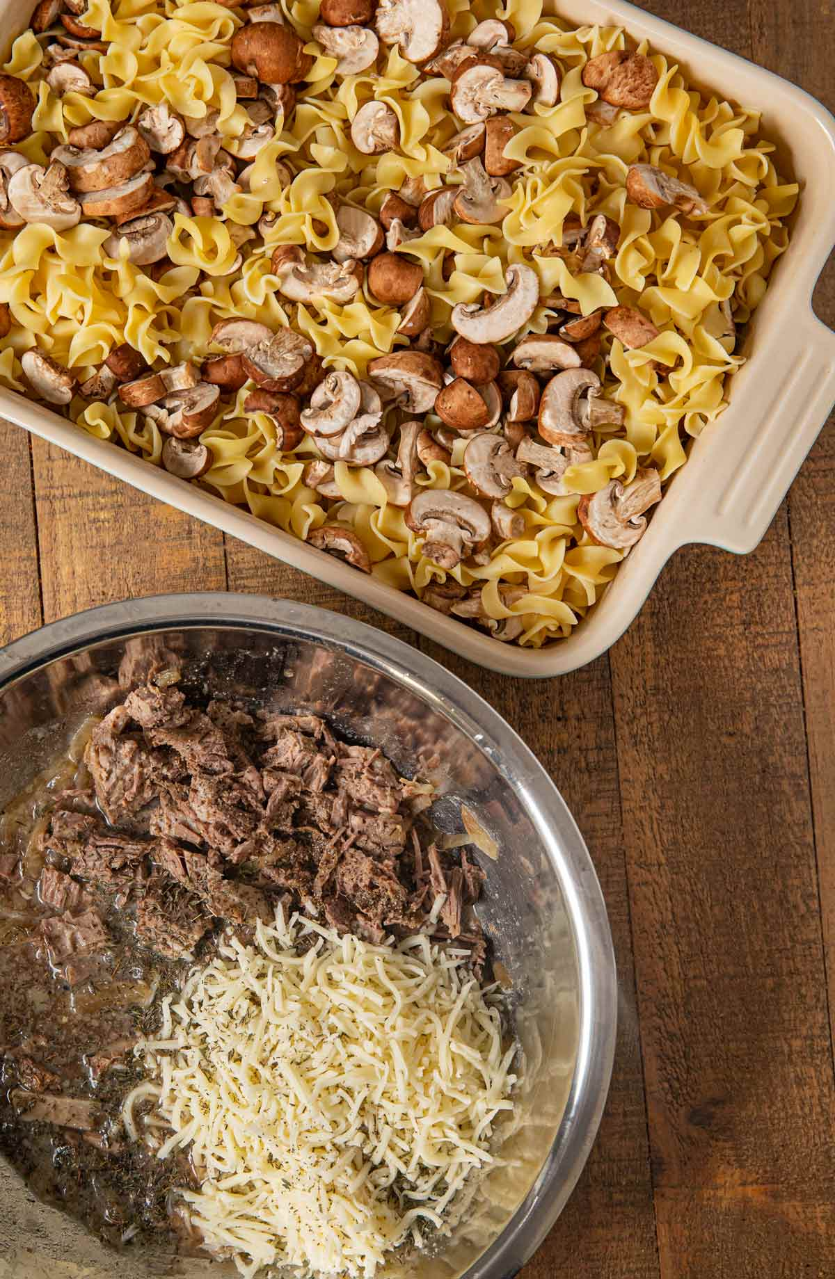 French Onion Beef Noodle Bake ingredients