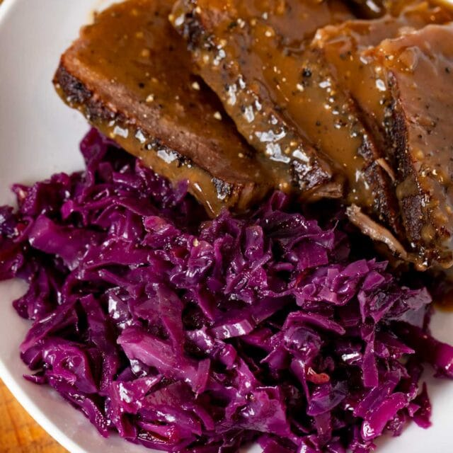German Cabbage on plate with Sauerbraten