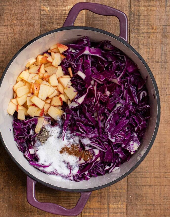 German Cabbage ingredients in pot