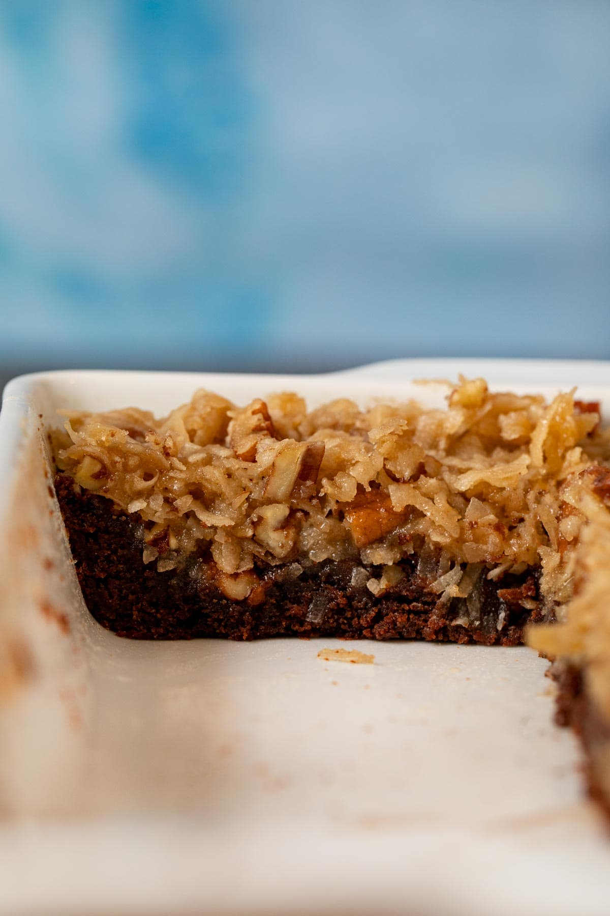 cross-section of German Chocolate Brownies in baking dish