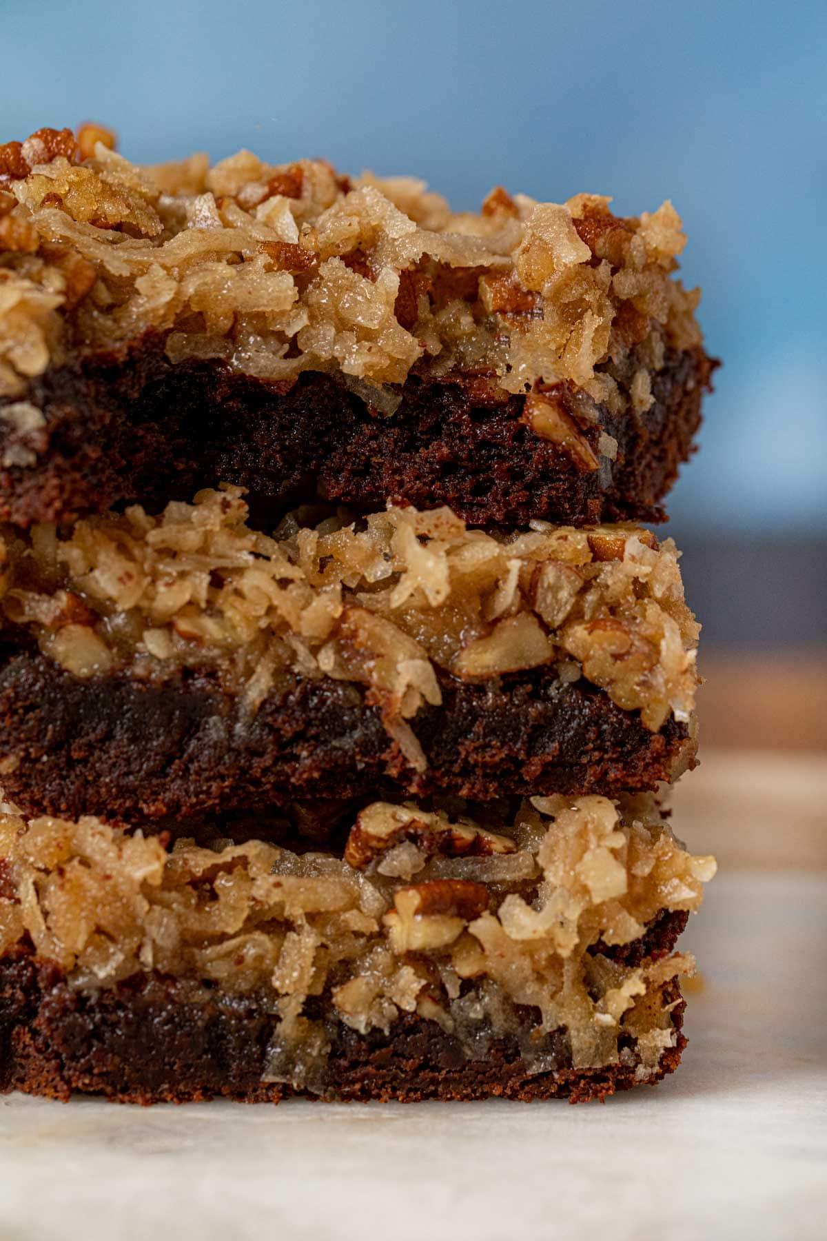 German Chocolate Brownies in stack