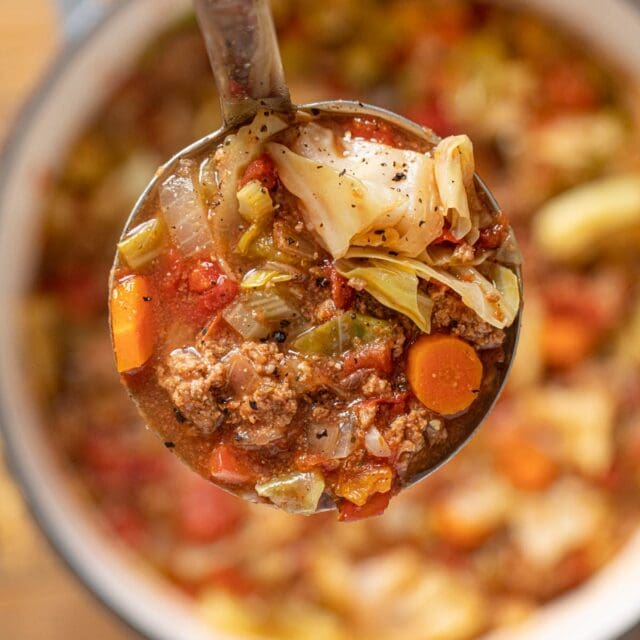 Ground Beef Cabbage Soup serving in ladle