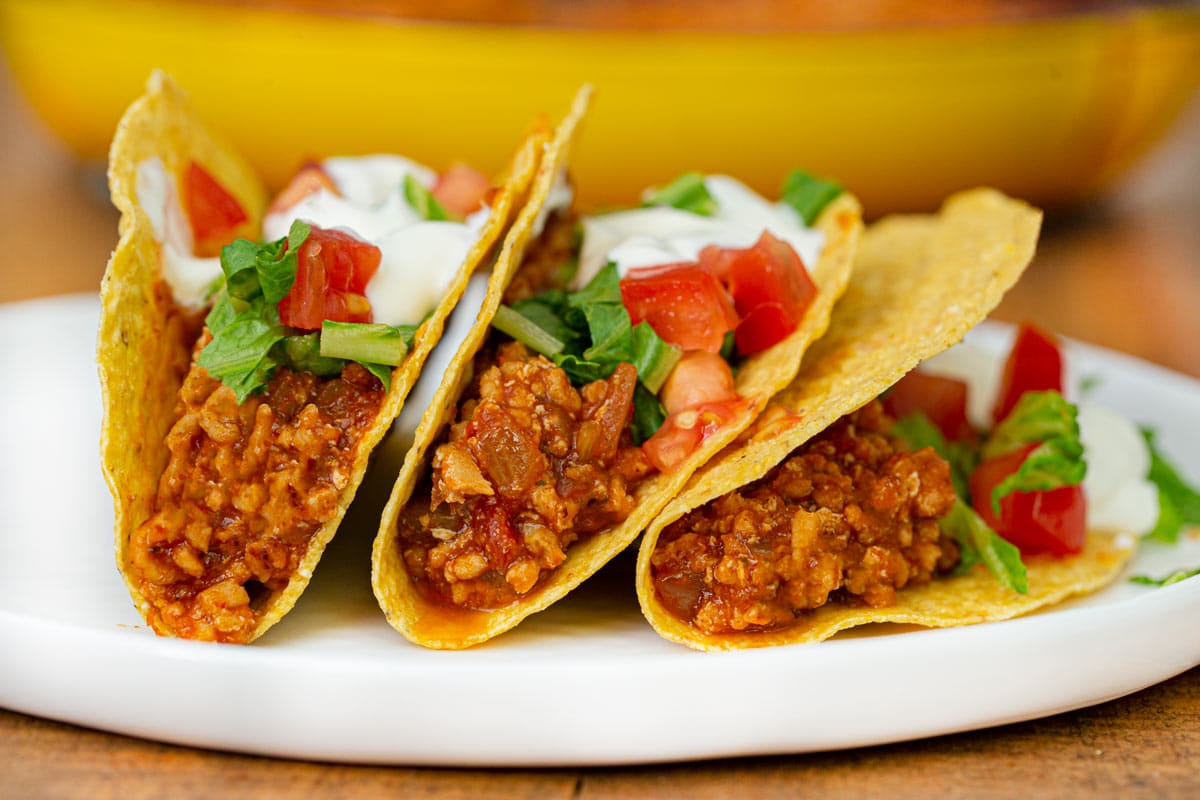 Ground Chicken Tacos three tacos on plate