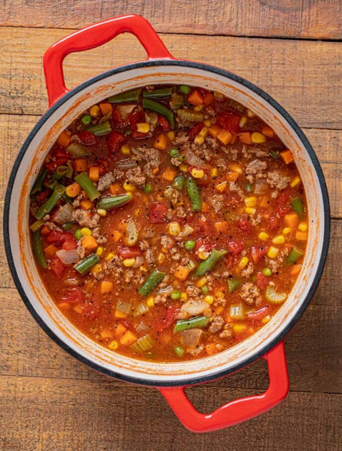 Hamburger Soup in pot