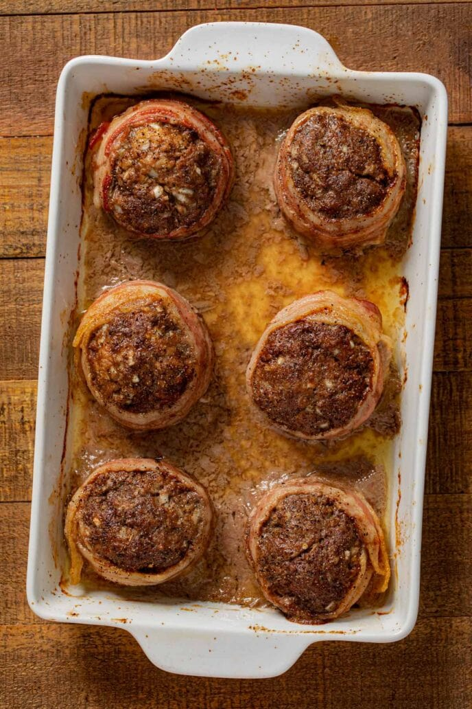 Individual Bacon Wrapped Meatloaf in baking dish