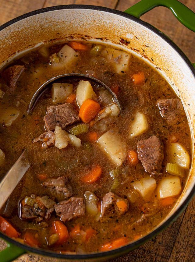 Irish Beef Stew in pot with ladle