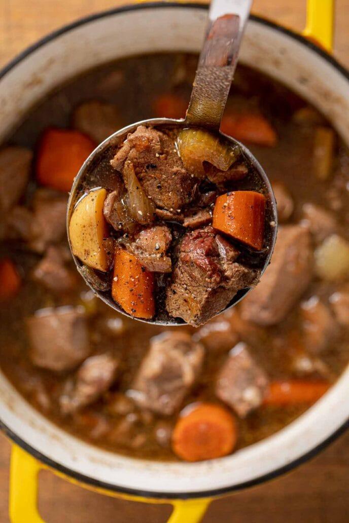 Irish Lamb Stew serving in ladle