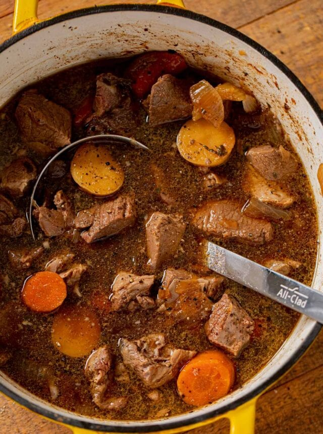 Irish Lamb Stew in pot with ladle