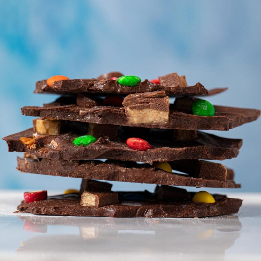 Leftover Candy Bar Bark pieces in stack