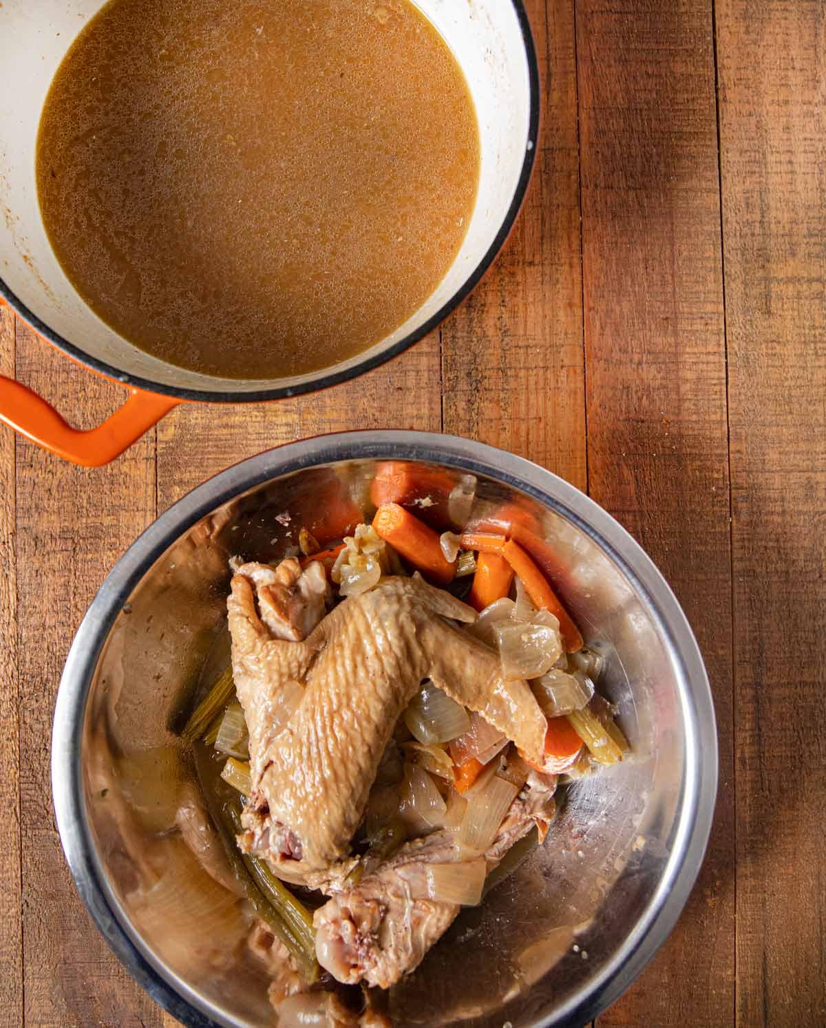 Make-Ahead Turkey Gravy with turkey and vegetables
