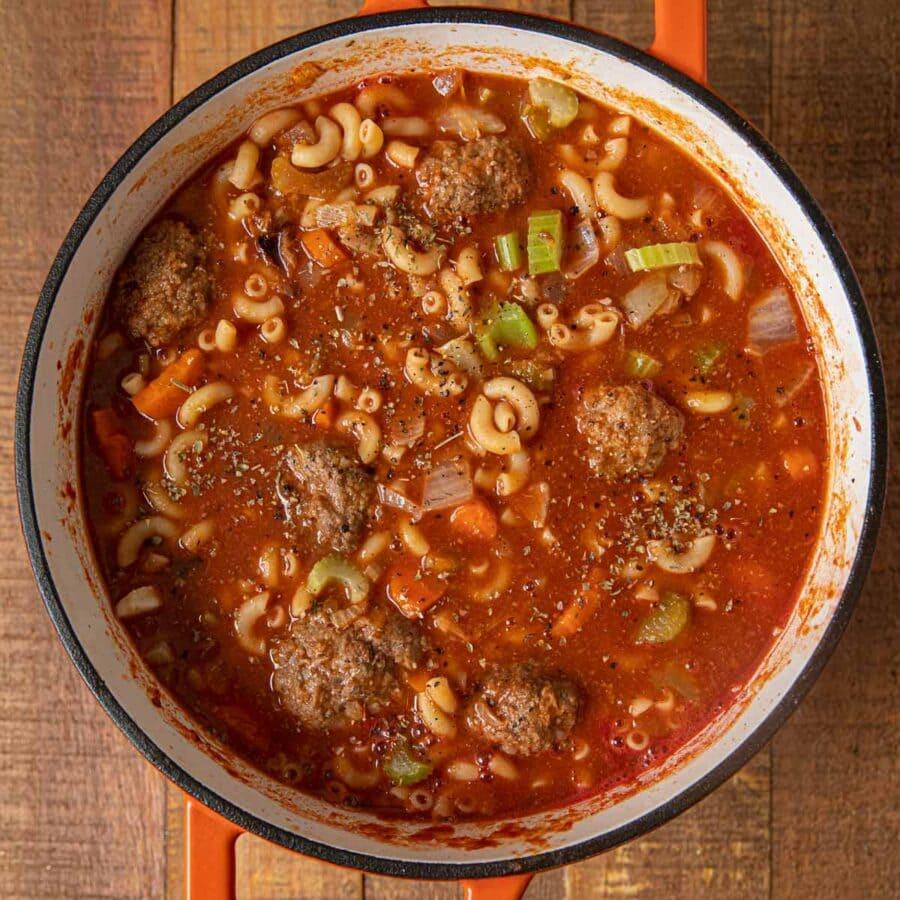 Meatball Soup in pot