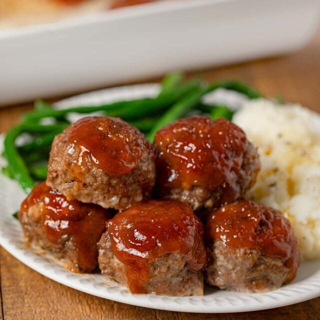 Meatloaf Meatballs on plate with mashed potatoes and green beans