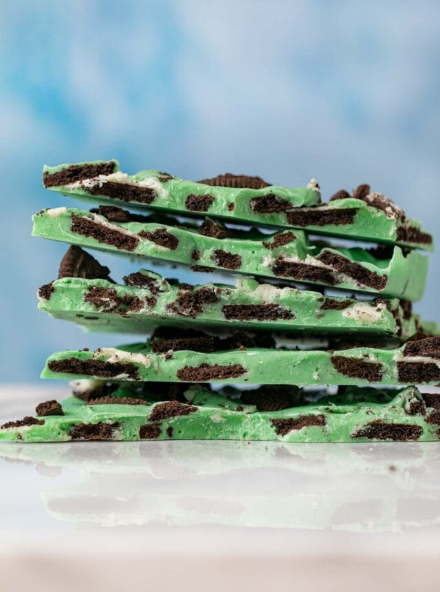 Mint Oreo Bark pieces in stack