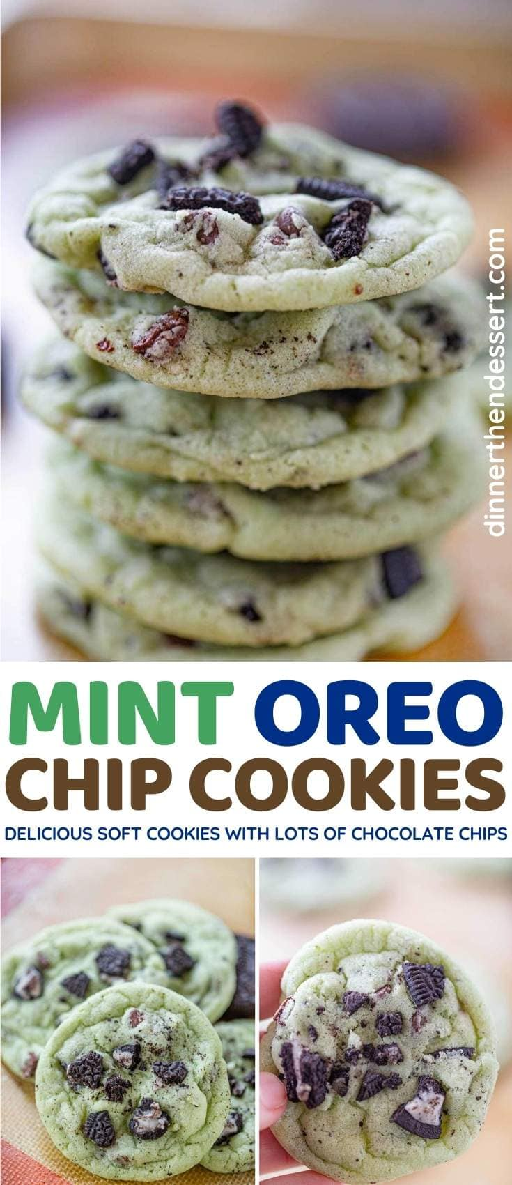 Mint Oreo Chip Cookies collage