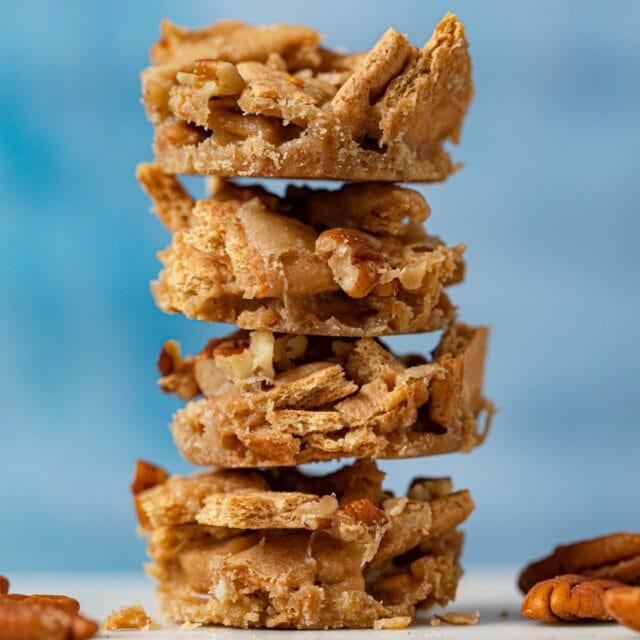 Pecan Praline Toffee Bites in stack