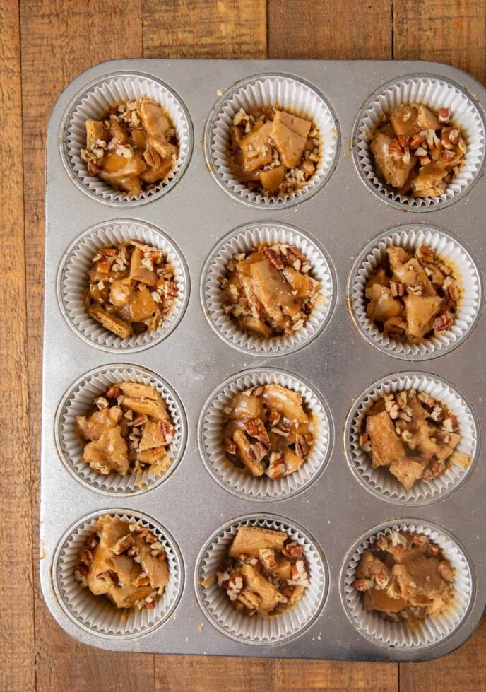 Pecan Praline Toffee Bites in muffin tin