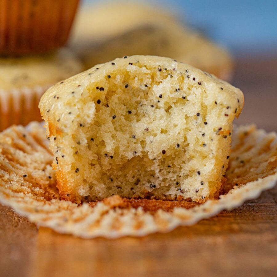 Poppy Seed Muffin with bite removed