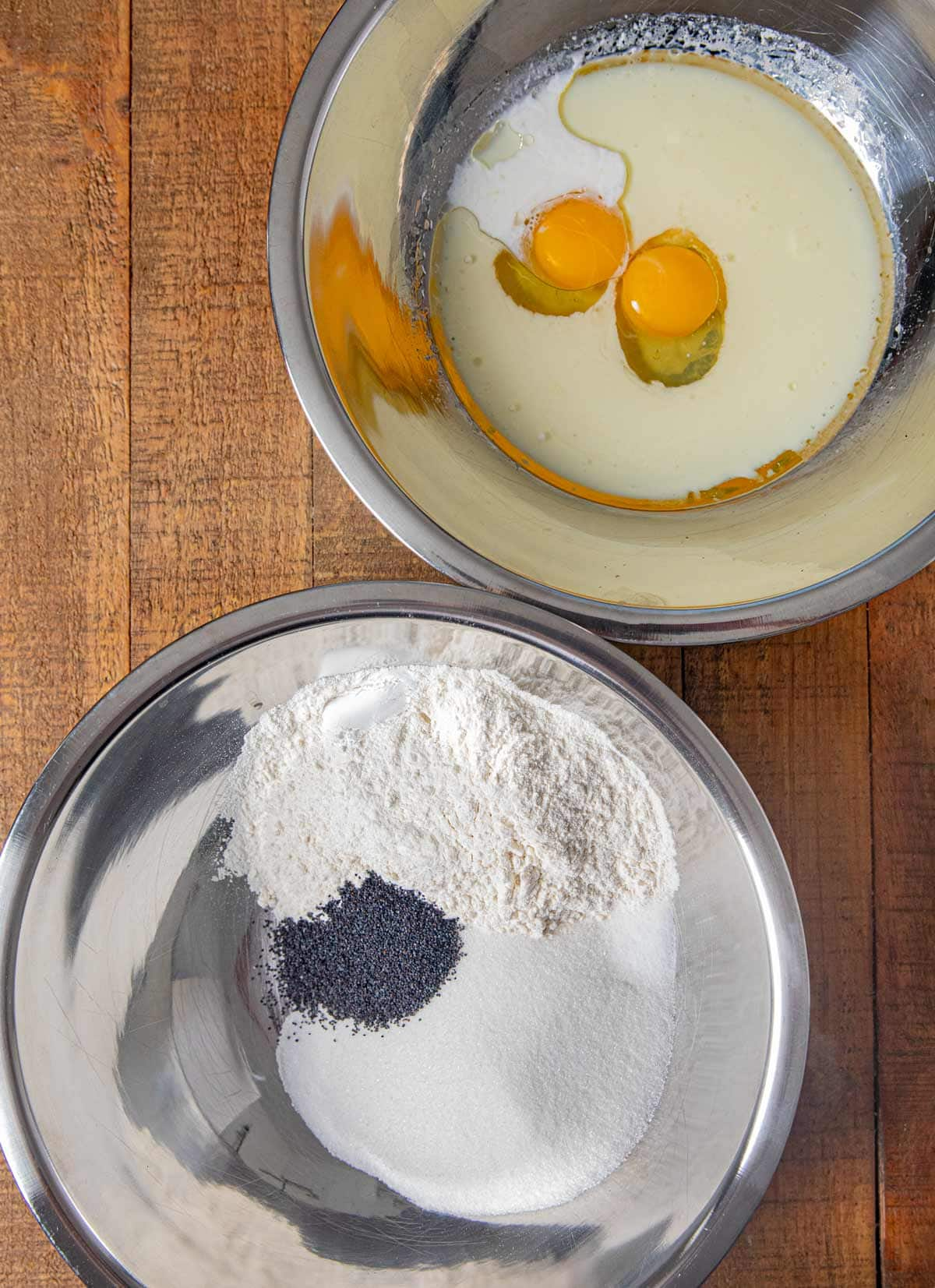Poppy Seed Muffins ingredients in bowls