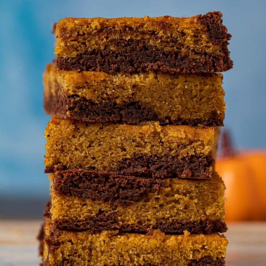 Pumpkin Brownies in stack