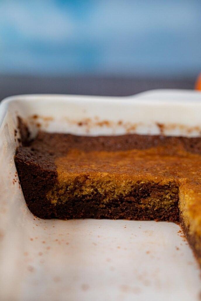 cross-section of Pumpkin Brownies in baking dish