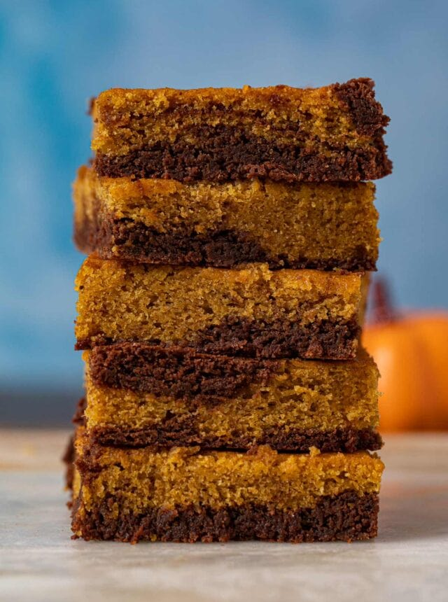 Pumpkin Brownies in stack