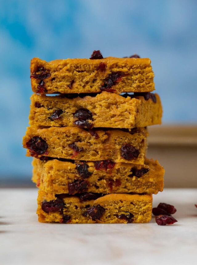 Pumpkin Cranberry Bars in stack