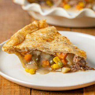 Roast Beef Pot Pie slice on plate