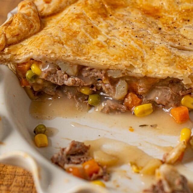 Roast Beef Pot Pie cross-section in pie plate