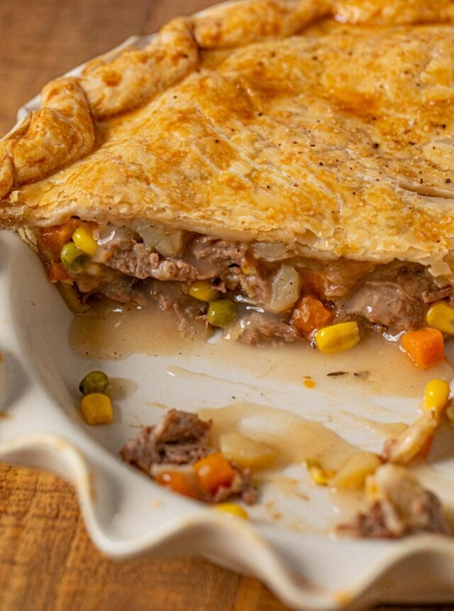 Roast Beef Pot Pie cross-section in pie plate