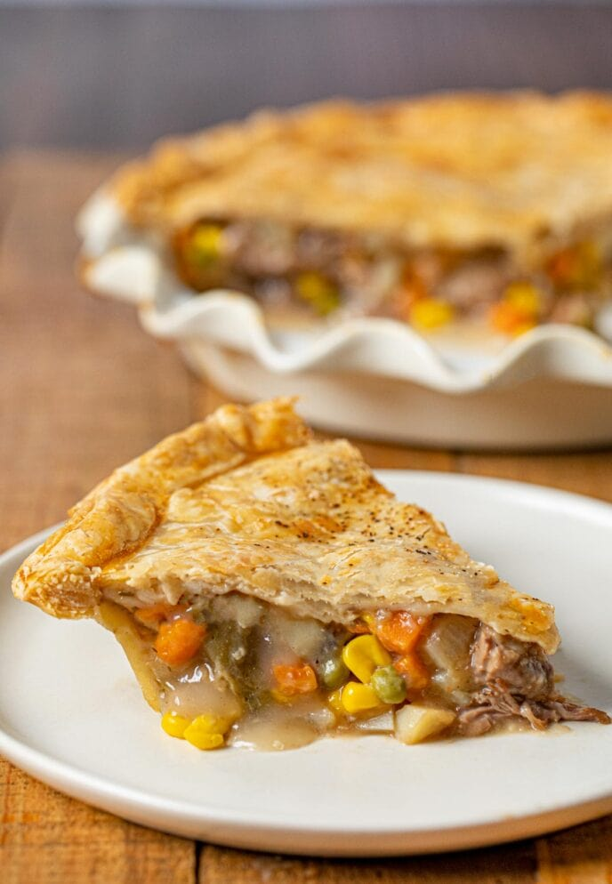 Roast Beef Pot Pie slice on plate