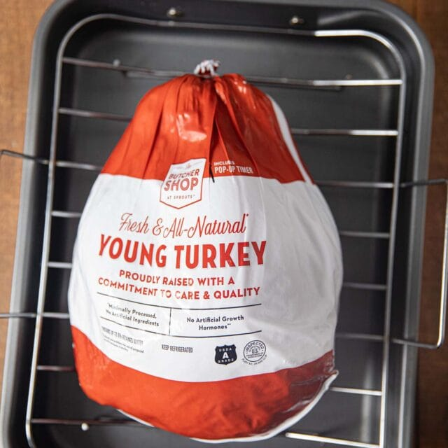 Roast Turkey from Frozen turkey in bag in roasting pan