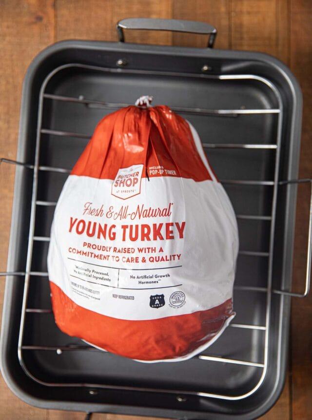 Roast Turkey from Frozen turkey in bag in roasting pan