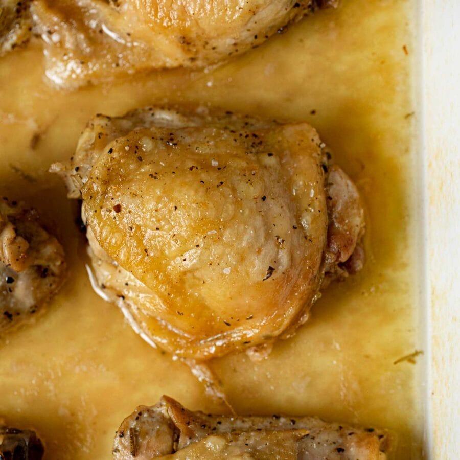 Crispy Salt and Vinegar Chicken in baking dish